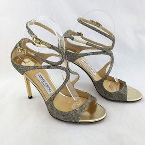 Jimmy Choo 38.5 Size 8 Ivette Heels Gold Glitter